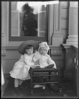 Portrait of William Harold and Albert Leslie Oliver as children. [negative]