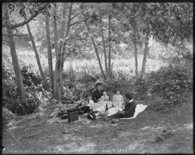 Portrait of William Letts Oliver family, Laundry Farm. [negative]