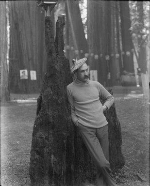 Man wearing beret, Bohemian Grove. [negative]