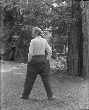 Rear view of man, Bohemian Grove. [negative]