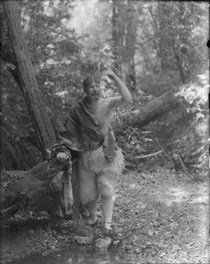 Man dressed as satyr? Bohemian Grove. [negative]