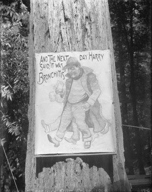 Photo of cartoon portrait of Harry Dumont, Bohemian Grove. [negative]