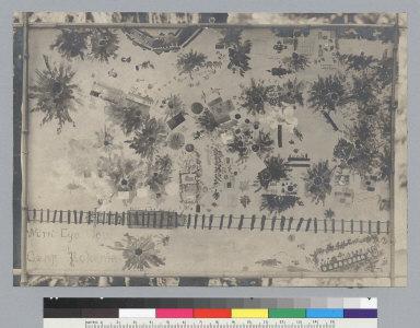 "Cartoon map, ""Worm's-eye view of Camp Bohemia,"" Bohemian Grove. [photographic print]"