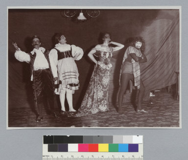Four men dressed in theatrical costume, Bohemian Grove. [photographic print]