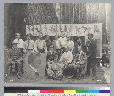 Group portrait of men with paintings [photographic print]