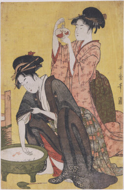 Two women with goldfish