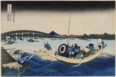 Fuji and sunset over Ryogoku Bridge from the Onmaya Bank of the Sumida River, from Thirty-six Views of Mt. Fuji